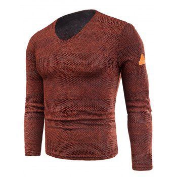 V Neck Long Sleeve Knitted Fleece T-shirt - RED RED