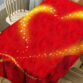 Valentine's Day Roses Sparkling Heart Pattern Waterproof Table Cloth - RED W54 INCH * L72 INCH