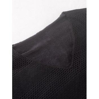 V Neck Long Sleeve Knitted Fleece T-shirt - BLACK BLACK