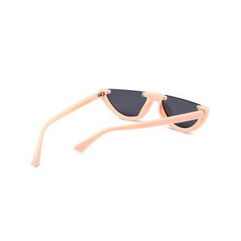 Vintage Semi-Rimless Decorated Cat Eye Sunglasses - BLACK/PINK