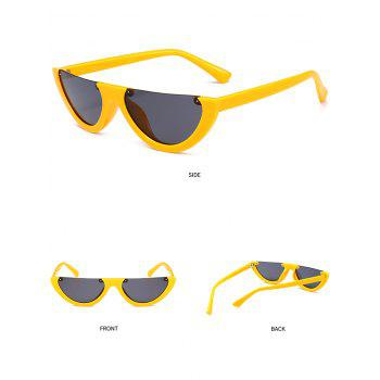 Vintage Semi-Rimless Decorated Cat Eye Sunglasses - YELLOW