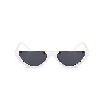 Vintage Semi-Rimless Decorated Cat Eye Sunglasses -  GREY/WHITE