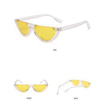 Vintage Semi-Rimless Decorated Cat Eye Sunglasses - LIGHT YELLOW