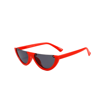 Vintage Semi-Rimless Decorated Cat Eye Sunglasses - DEEP RED