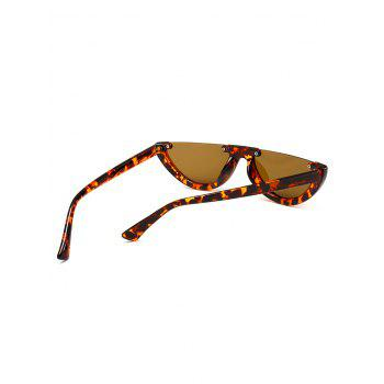 Vintage Semi-Rimless Decorated Cat Eye Sunglasses - BEANCURD FLOWER/DARK BROWN