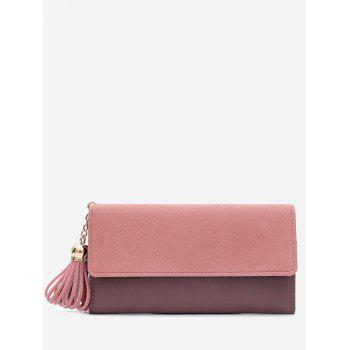 Tassel Pendant Long Frosted Wallet - PINK PINK