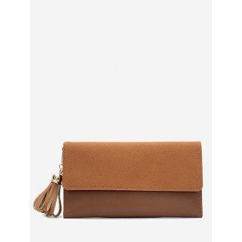 Tassel Pendant Long Frosted Wallet - BROWN BROWN