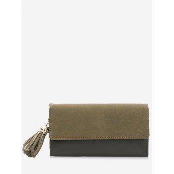 Tassel Pendant Long Frosted Wallet - ARMY GREEN ARMY GREEN