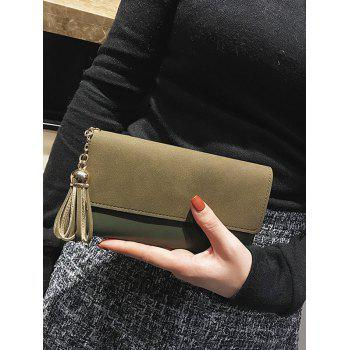 Tassel Pendant Long Frosted Wallet -  ARMY GREEN