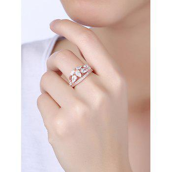 Imitation Diamond Inlay Decorative Ring - ROSE GOLD/WHITE ROSE GOLD/WHITE