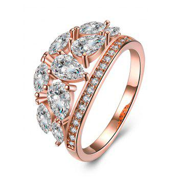 Imitation Diamond Inlay Decorative Ring - ROSE GOLD AND WHITE ROSE GOLD/WHITE
