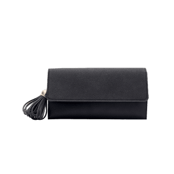 Tassel Pendant Long Frosted Wallet - BLACK