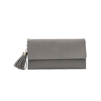 Tassel Pendant Long Frosted Wallet -  GRAY