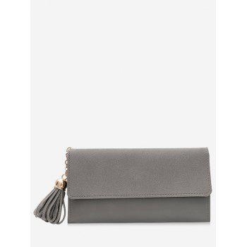 Tassel Pendant Long Frosted Wallet - GRAY GRAY