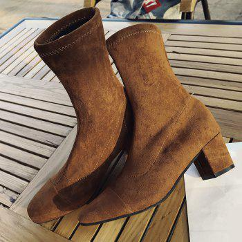Square Toe Chunky Heel Mid Calf Boots - BROWN 38