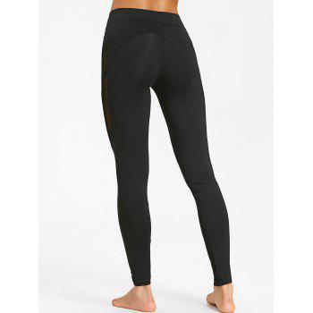 See Through Mesh Insert Yoga Tights - BLACK XL