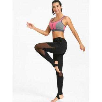 See Through Workout Leggings with Mesh Panel - BLACK M