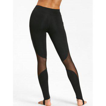 See Through Workout Leggings with Mesh Panel - BLACK BLACK