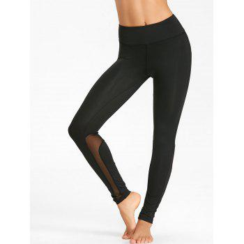 High Rise Mesh Insert Workout Tights - BLACK XL