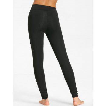 High Waist Mesh Panel Workout Leggings - BLACK S