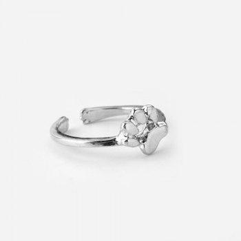 Puppy Paw Embellished Finger Ring - SILVER SILVER