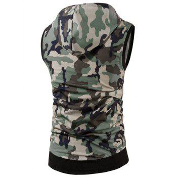 Zip Up Kangaroo Pocket Hooded Camo Vest - GREEN M
