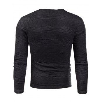 Knitted V Neck Long Sleeve T-shirt - BLACK 5XL