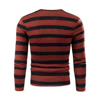V Neck Stripe Fleece Knitted T-shirt - RED RED