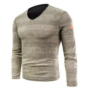 Knitted V Neck Long Sleeve T-shirt - KHAKI KHAKI