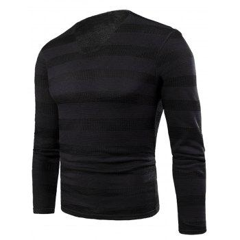 V Neck Stripe Fleece Knitted T-shirt - BLACK BLACK