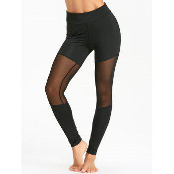 Sports Sheer Mesh Insert Leggings - BLACK L