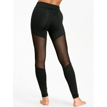 Leggings sport à empiècements en maille transparente - Noir XL
