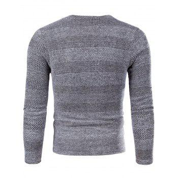 Knitted V Neck Long Sleeve T-shirt - GRAY 3XL