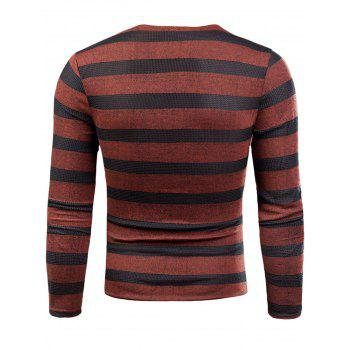 V Neck Long Sleeve Knitted Stripe T-shirt - RED RED