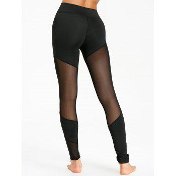 See Through Mesh Panel Sports Leggings - BLACK XL