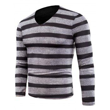 V Neck Long Sleeve Knitted Stripe T-shirt - GRAY GRAY
