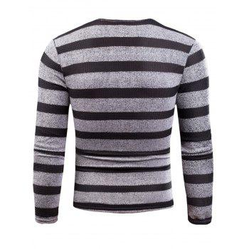 V Neck Long Sleeve Knitted Stripe T-shirt - GRAY 3XL