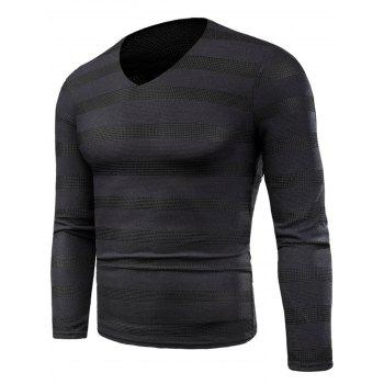 V Neck Long Sleeve Knitted Stripe T-shirt - BLACK BLACK