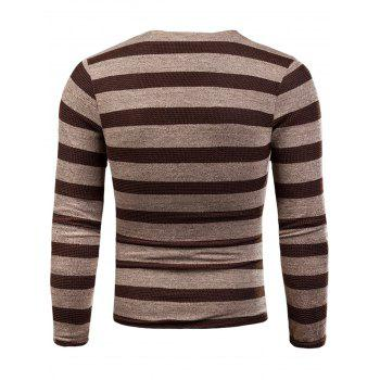 V Neck Long Sleeve Knitted Stripe T-shirt - KHAKI 3XL