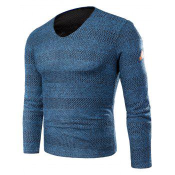 Knitted V Neck Long Sleeve T-shirt - BLUE BLUE