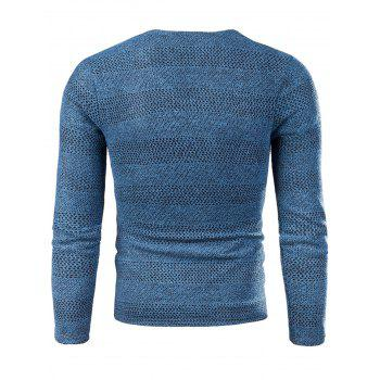 Knitted V Neck Long Sleeve T-shirt - BLUE 4XL