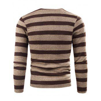 V Neck Stripe Fleece Knitted T-shirt - KHAKI KHAKI
