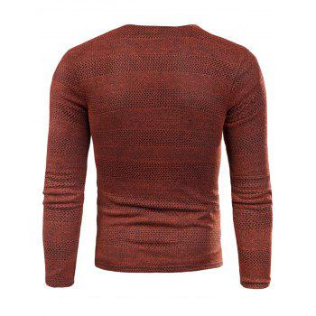 Knitted V Neck Long Sleeve T-shirt - RED 4XL