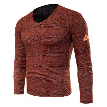 Knitted V Neck Long Sleeve T-shirt - RED RED