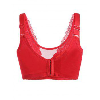 Plus Size Full Cup Lace Insert Bra - RED 4XL