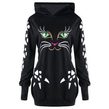 Plus Size Cat Print  Hoodie with Ears - BLACK BLACK