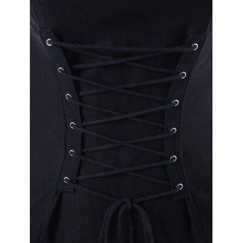 Strapless Lace Up Front Bodycon Dress - BLACK M