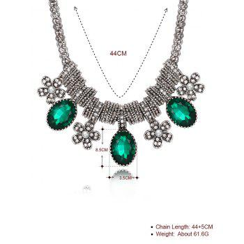 Luxury Rhinestone Inlay Floral Pendant Necklace -  GREEN