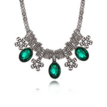 Luxury Rhinestone Inlay Floral Pendant Necklace - GREEN GREEN