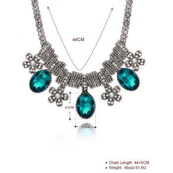 Luxury Rhinestone Inlay Floral Pendant Necklace - BLUE